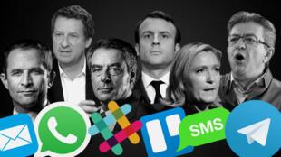 De gauche à droite et de haut en bas : Benoît Hamon, Yannick Jadot, François Fillon, Emmanuel Macron, Marine Le Pen, Jean-Luc Mélenchon ; Mail, WhatsApp, Slack, Trello, SMS, Telegram.
