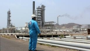 """A fire at the main oil refinery in Aden (pictured September 2016) was likely """"the result of an explosion (and) probably a deliberate act of sabotage"""", an official said"""