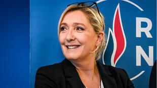 French far-right party Rassemblement National (RN) leader Marine Le Pen poses after her New Year press conference on January 16, 2020, at the party's headquarters in Nanterre, near Paris.