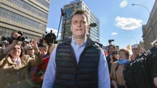 L'opposant Alexeï Navalny, le 14 mai 2017, lors d'une manifestation à Mascou.