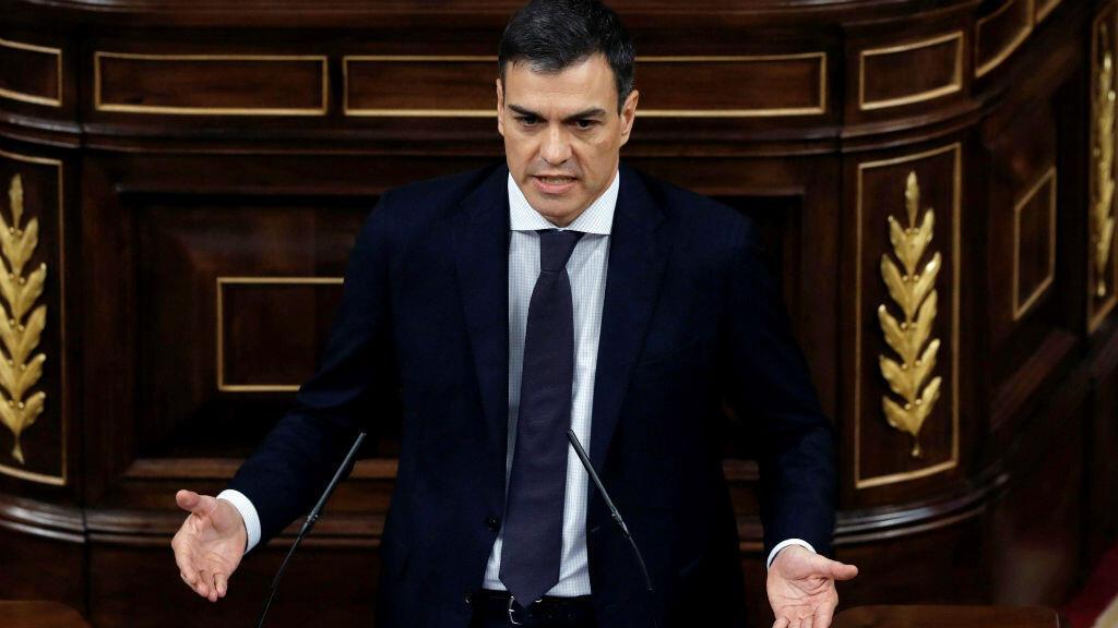 Le leader du Parti socialiste espagnol (PSOE), Pedro Sanchez, vendredi 1er juin 2018, au Parlement espagnol.