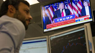 Un trader à Londres lors de l'annonce de la victoire de Donald Trump à la présidentielle américaine.