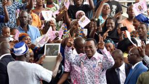 Pascal Affi N'Guessan, président du Front populaire ivoirien, principal parti d'opposition, le 8 août 2015.