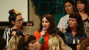 La actriz argentina Thelma Fardín durante una rueda de prensa en Buenos Aires, Argentina, el 11 de diciembre de 2018.