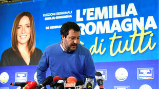 Leader of Italy's far-right League party Matteo Salvini at a news conference after polls closed for the Emilia-Romagna regional election in Bologna, Italy, on January 27, 2020.