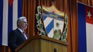 Miguel Díaz-Canel pronuncia un discurso durante su toma de posesión como presidente de la República de Cuba, en La Habana, el 10 de octubre de 2019.