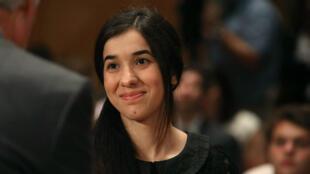 Nadia Murad Basee, l'une des deux rescapées yazidies, devant un comité du Sénat américain, le 21 juin 2016 à Washington.