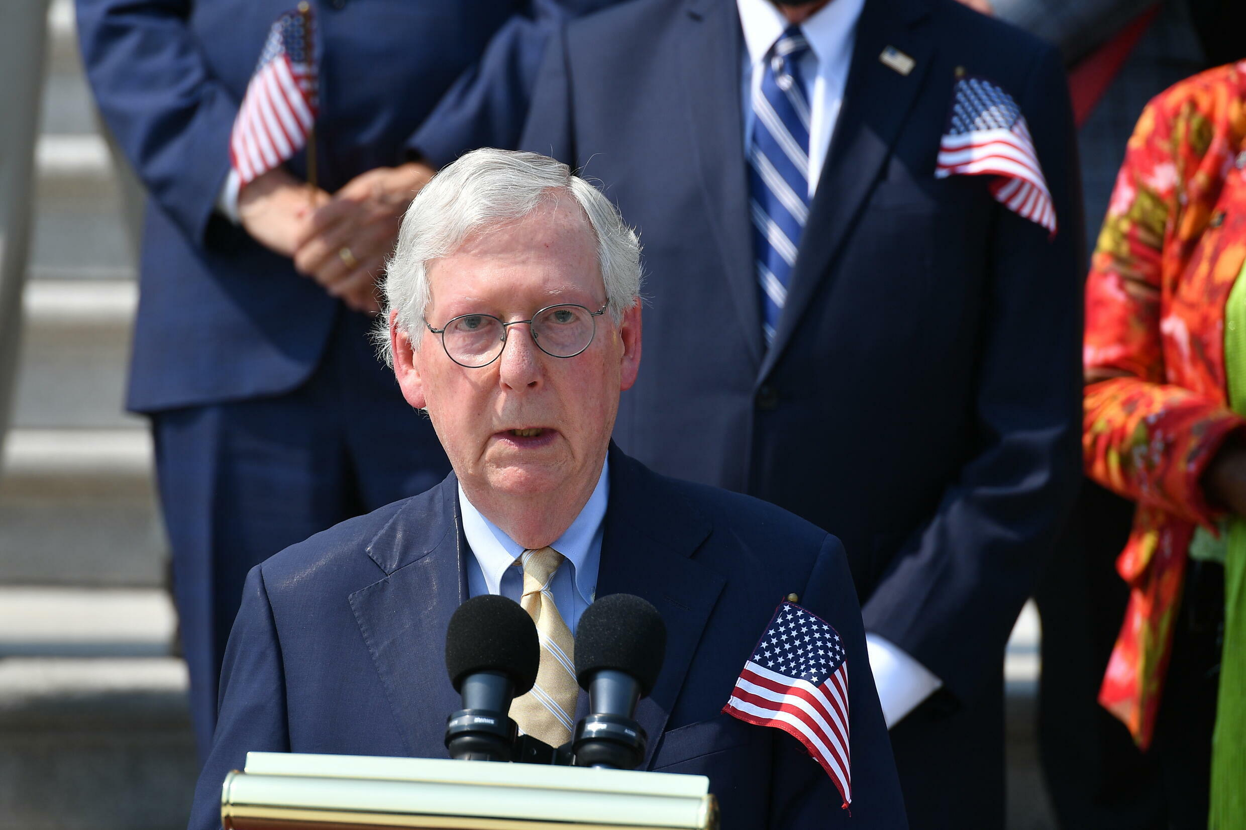 Mitch McConnell in front of the Capitol steps in Washington on September 13, 2021