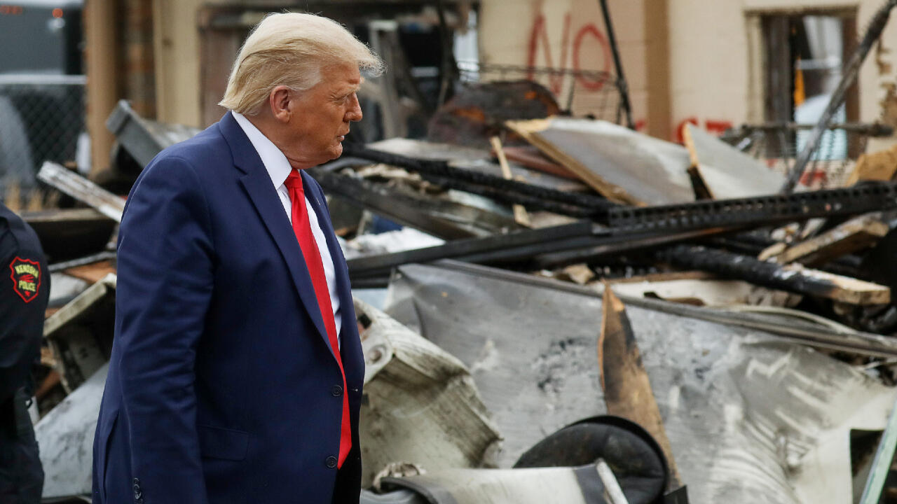 U.S. President Donald Trump during a visit to Kenosha in the aftermath of recent protests against police brutality and racial injustice after the shooting of Jacob Blake by police in Kenosha, Wisconsin, U.S., September 1, 2020.
