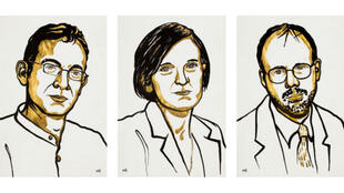 Croquis des économistes Abhijit Banerjee, Esther Duflo et  Michael Kremer.