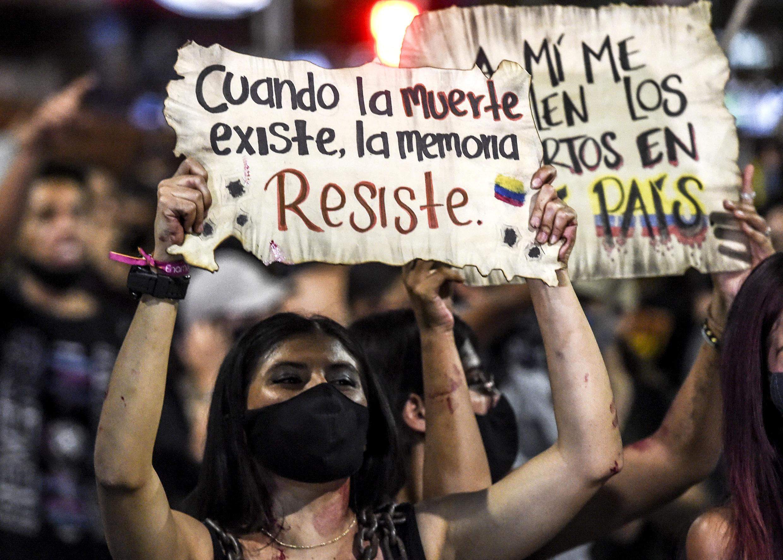 Protesta contra la brutalidad policial en Medellín, Colombia, el 14 de septiembre de 2020