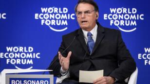 Le président brésilien au Forum économique mondial de Davos, le 22 janvier 2019.