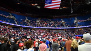 The upper section of the arena is seen partially empty as US President Donald Trump speaks during a campaign rally at the BOK Center on June 20, 2020 in Tulsa, Oklahoma