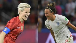 L'attaquante américaine Megan Rapinoe face à la défenseuse anglaise Lucy Bronze.