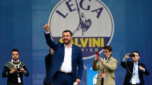 Matteo Salvini, à Milan, lors d'un meeting des partis européens nationalistes, le 18 mai 2019.