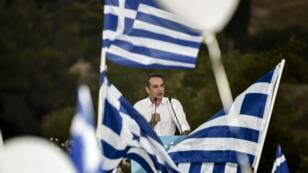 Kyriakos Mitsotakis lors de l'un de ses meetings de campagne, le 4 juillet 2019, à Athènes.