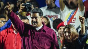 Le président du Venezuela, Nicolás Maduro, et sa femme le 20 mai 2018, après l'annonce de sa victoire à la présidentielle.