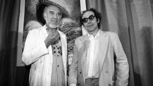 """Michel Piccoli and director Jean-Luc Godard at the Cannes film festival in 1982, nearly 20 years after their film """"Contempt"""" first premiered"""