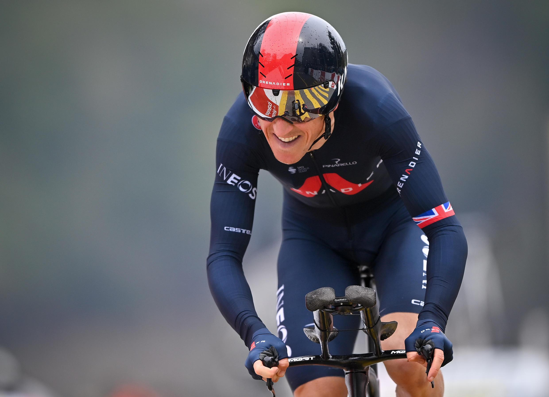 Le Britannique Geraint Thomas (Ineo), lors de la dernière étape du Tour de Romandie cycliste, le 2 mai 2021 à Fribourg.
