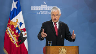El presidente de Chile, Sebastián Piñera, el 18 de marzo de 2020 en el palacio La Moneda en Santiago