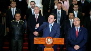 El presidente Jimmy Morales en el anuncio del cese de funciones de la Cicig en Ciudad de Guatemala, 7 de enero de 2019.