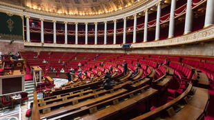 L'hémicycle de l'Assemblée nationale à Paris, le 21 avril 2020