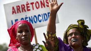 Une marche organisée le 30 juin 2018 à Bamako par le Mouvement Peul, une organisation de l'ethnie Fulani, en réaction au massacre de Koumaga, au Mali. Archives.