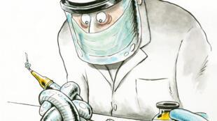 Dessin de Marco de Angelis, journaliste professionnel et dessinateur italien, illustrant la difficulté dans la course aux vaccins contre le Covid-19.