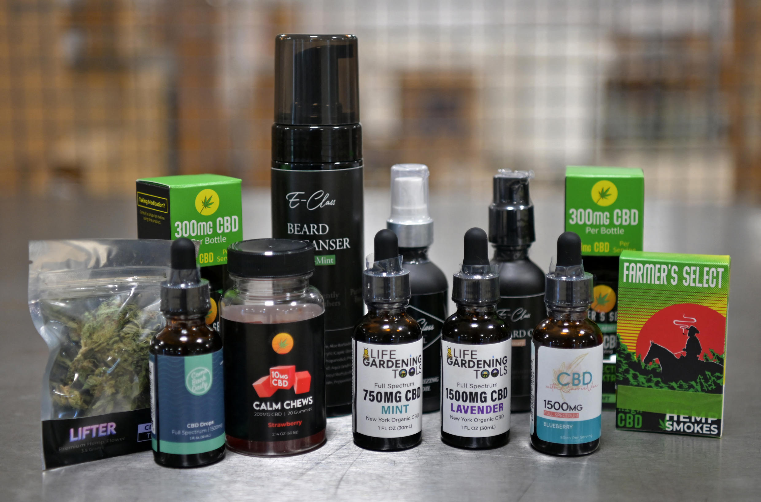 Diverse CBD products are displayed at a hemp plant, on April 13, 2021 in Binghamton, New York.