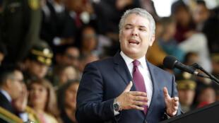 El presidente de Colombia, Iván Duque, participa en una ceremonia de ascensos de la Policía en Bogotá, Colombia, el 7 de noviembre de 2019.
