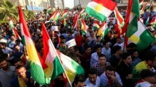 تظاهرة للأكراد أمام مكاتب الأمم المتحدة في أربيل، 21 تشرين الأول/أكتوبر 2017