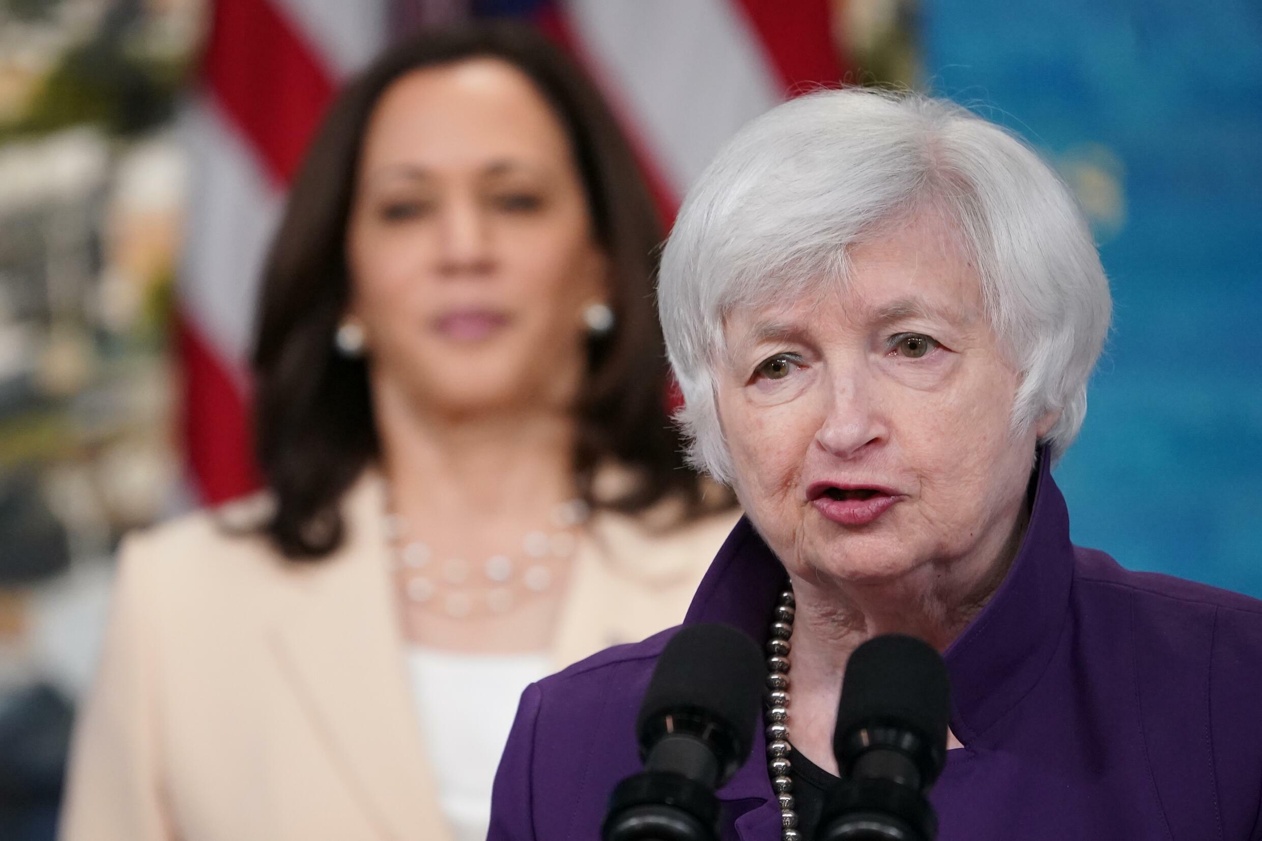 Janet Yellen, with Vice President Kamala Harris in the background, June 15, 2021