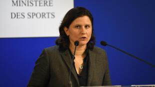 Roxana Maracineanu, lors d'une conférence de presse au ministère des Sports à Paris, le 3 février 2020