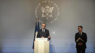 Les ministres de l'Économie Bruno Le Maire et des Comptes publics Gérald Darmanin le 18 mars 2020 à Paris.
