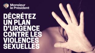 """Affiche de la pétition """"Décrétez un plan d'urgence contre les violences sexuelles #1femmesur2"""""""