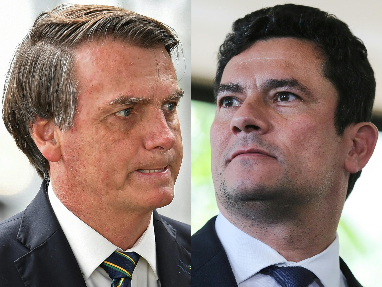 Las conclusiones pueden abrir el camino a un pedido de juicio político contra el presidente Bolsonaro (izq) o a una acusación por falso testimonio contra el exministro Sergio Moro (der)