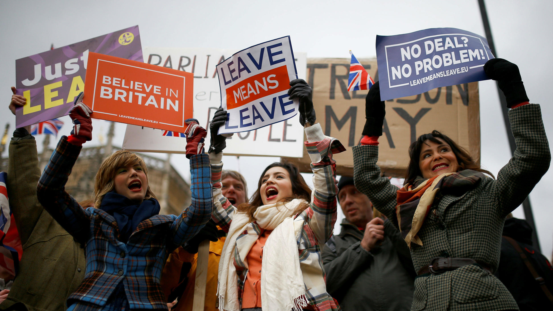 Ciudadanos británicos se manifiestan a favor del Brexit en Londres. 29 de enero de 2019.