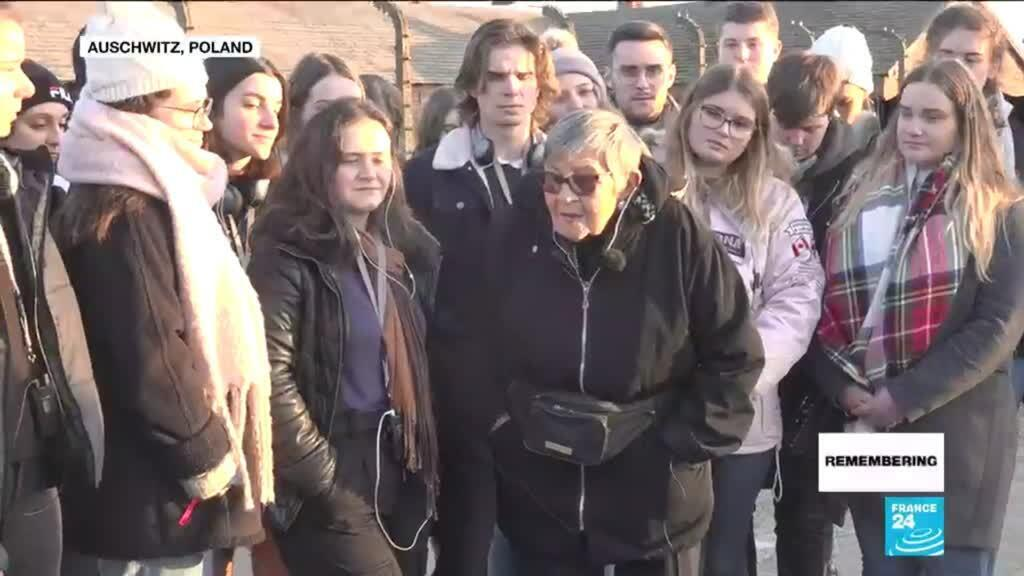 2020-01-27 13:07 Auschwitz, 75 years on: Survivor returns to death camp to tell her story to a group of French students