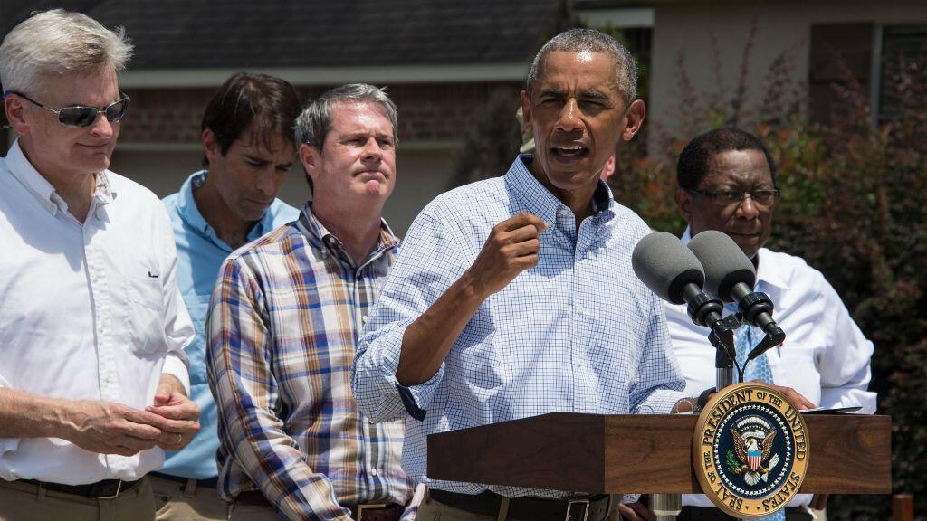 Barack Obama s'est exprimé depuis Baton Rouge, la capitale de la Louisiane, mardi 23 août 2016.