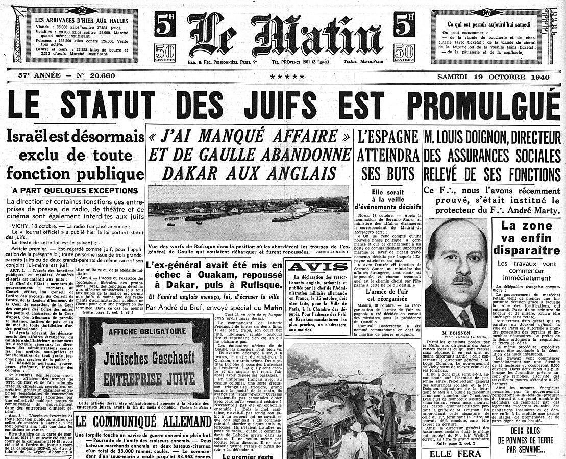 La Une du journal Le Matin du 19 octobre 1940.