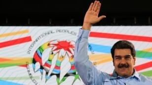 El presidente venezolano Nicolás Maduro participó este martes en el acto de cierre de la Asamblea Internacional de los Pueblos en Caracas (Venezuela).