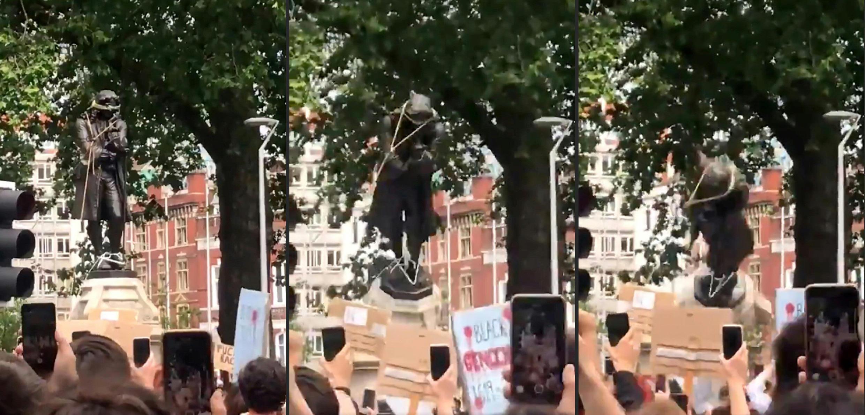 Secuencia de imágenes que muestran a los manifestantes derribando el monumento de bronce a Edward Colston en Bristol y lo arrojó al puerto
