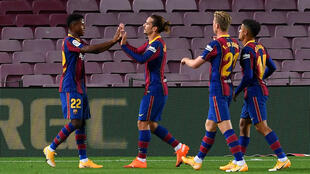 Ansu Fati (left) scored twice in Barcelona's victory over Villarreal on Sunday.