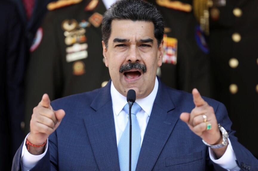 El presidente de Venezuela, Nicolás Maduro, habla durante una conferencia de prensa en el Palacio de Miraflores en Caracas, Venezuela, 12 de marzo de 2020.
