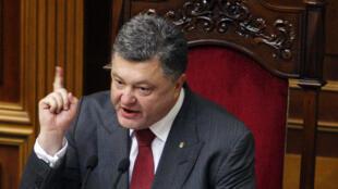 Le président ukrainien Petro Porochenko devant le Parlement à Kiev, le 3 juillet 2014.