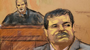 "Joaquin ""El Chapo"" Guzman lors de l'énoncé du verdict le 17 juillet à New York."