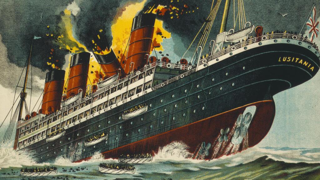 Un poster créé en 1915 par le service de recrutement irlandais sur le naufrage du Lusitania appelant à la vengeance.