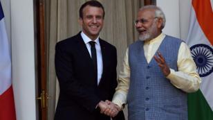 Le Premier ministre indien Narendra Modi et le président français Emmanuel Macron en mars 2018 à New Delhi.