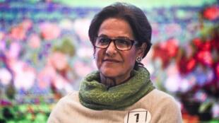 Susana Villarán el 18 de septiembre de 2014 durante un debate de candidatos a la Alcaldía de Lima, Perú.