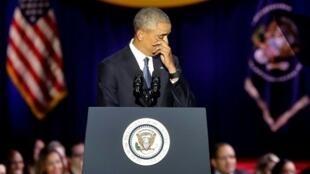 الرئيس الأمريكي باراك أوباما في خطاب الوداع في شيكاغو في 10 كانون الثاني/يناير 2017